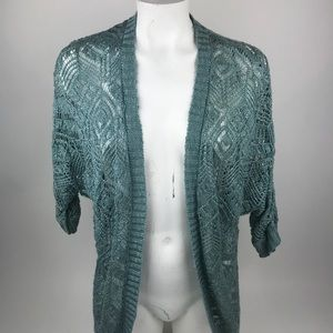 Pink Republic Aqua Blue Open Front Cardigan